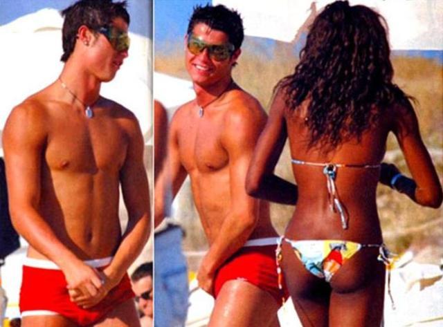 Playboy olhando a primeira buzanfa (o Cristiano Ronaldo é tão profissa que não larga a bola nem nas férias)