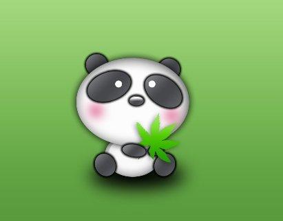 Pandinha com uma erva na mão em busca da batida perfeita